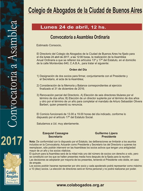CONVOCATORIA A ASAMBLEA ORDINARIA